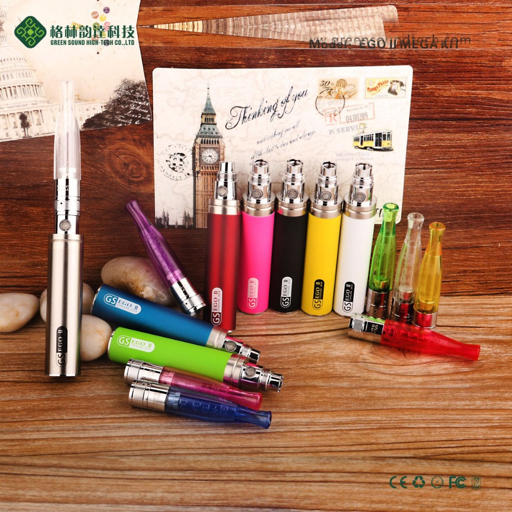 Original GS Ego II Mega Starter Kit Electronic Cigarette Ego II 2200mAh Battery GS H2 Atomizer Vape Vaporizer Pen Kit ECigs in Electronic Cigarette Kits from Consumer Electronics