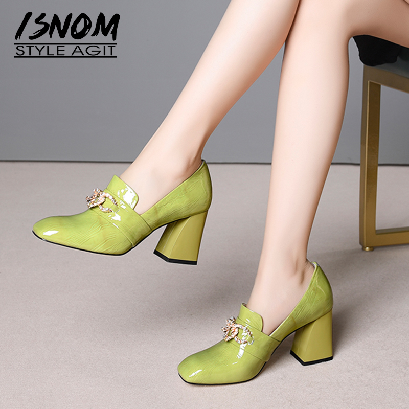 ISNOM Patent Leather Women Pumps Square Toe Footwear Thick High Heels Ladies Shoes Fashion Crystal Office Shoes Woman Spring
