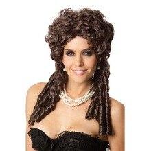 Взрослая Женская императрица Renaissnace средневековые волосы в стиле барокко нарядное платье аксессуар темно-коричневый Marie Antoinette Хэллоуин Вечеринка Perruque