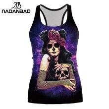 NADANBAO Dark น้ำตาลแจ็ค Skellington Tank Top ผู้หญิงการ์ตูนฮาโลวีน Corpse Bride พิมพ์เสื้อแขนกุด Cropped Feminino
