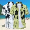 Camisas havaianas Moda masculina Turn-down Collar Impressão de Manga Curta Camisa Dos Homens Palm Beach Casual Vestido de Camisa camisa masculina Y1101