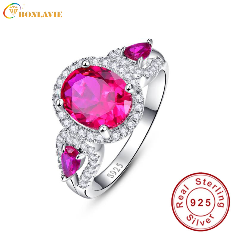 BONLAVIE Red Gem Ruby Anniversary Promise Ring 925 Sterling Silver Wedding Bands Ring For Women Fine Jewelry Wholesale FashionBONLAVIE Red Gem Ruby Anniversary Promise Ring 925 Sterling Silver Wedding Bands Ring For Women Fine Jewelry Wholesale Fashion