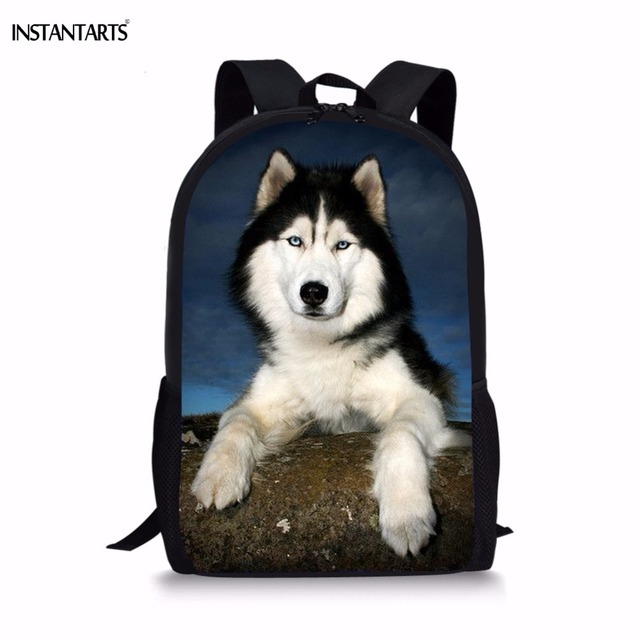INSTANTARTS Funny 3D Dog Husky Print Backpack for Teenage Girls Boys Middle  School Students Lap-