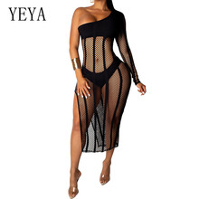 YEYA Sexy Perspective Mesh Three Pieces Sets Dress Women One Bshoulder Long Sleeve Hollow Out Grid Femme High Split