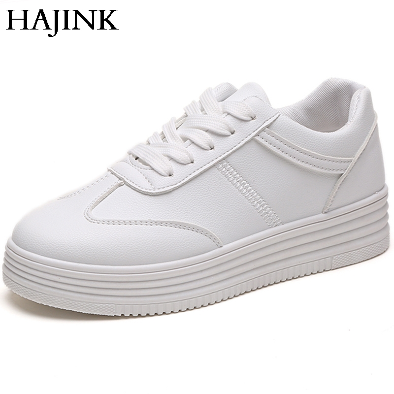 HAJINK Summer Sneakers Women Causal Shoes Basket White Women Flats Platform Creepers Leather Shoes phyanic 2017 gladiator sandals gold silver shoes woman summer platform wedges glitters creepers casual women shoes phy3323