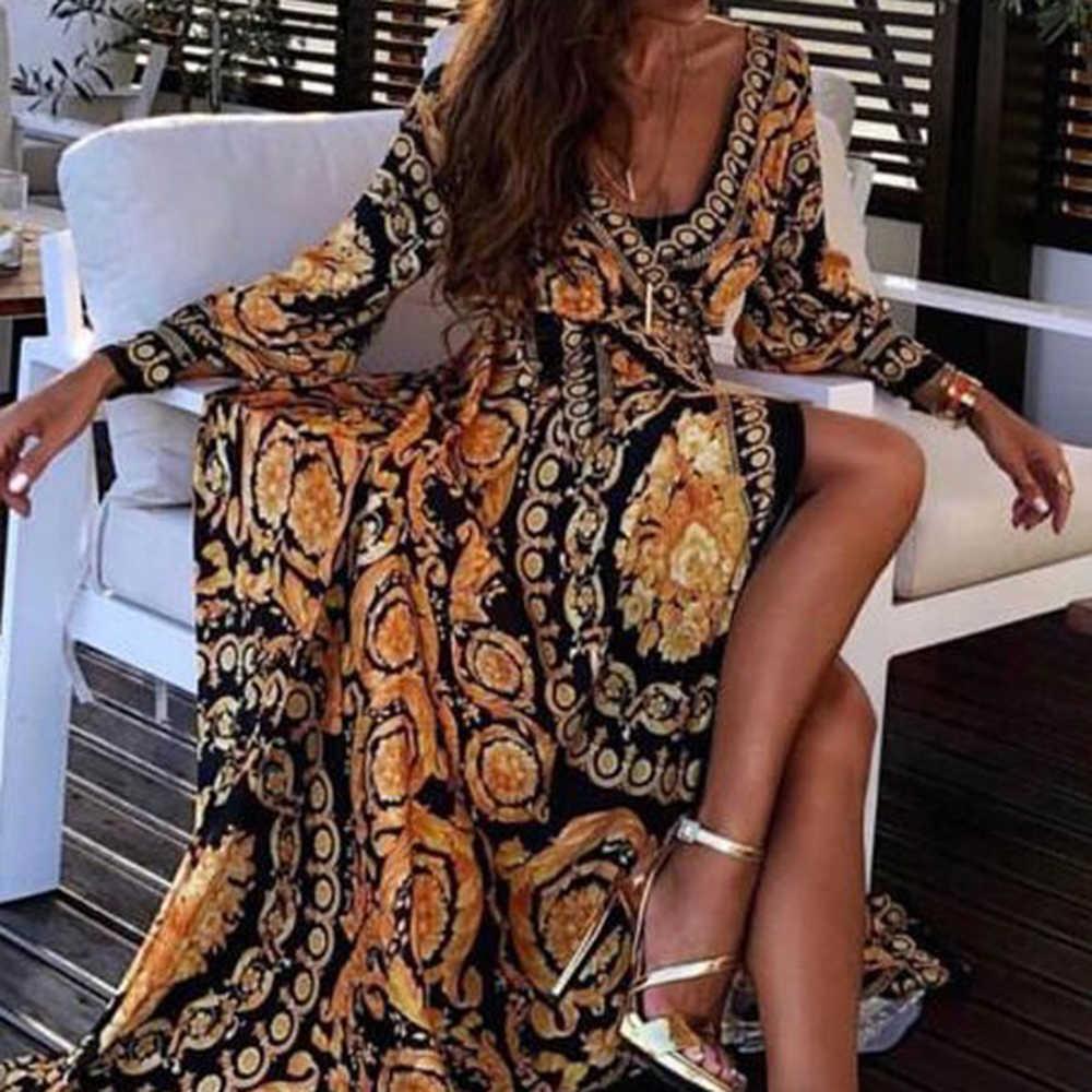 LASPERAL mujeres estampado Floral primavera Boho vestidos 2020 nueva manga larga cuello pico vestido largo fiesta playa vacaciones Club vestidos Sundress