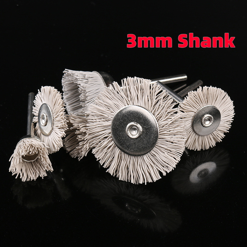 1Pcs 3mm Shank Nylon Abrasive Brushes Disc Accessories Dupont Polishing Wheel Carving Rotary Tools Suit Engraving Mini-polished