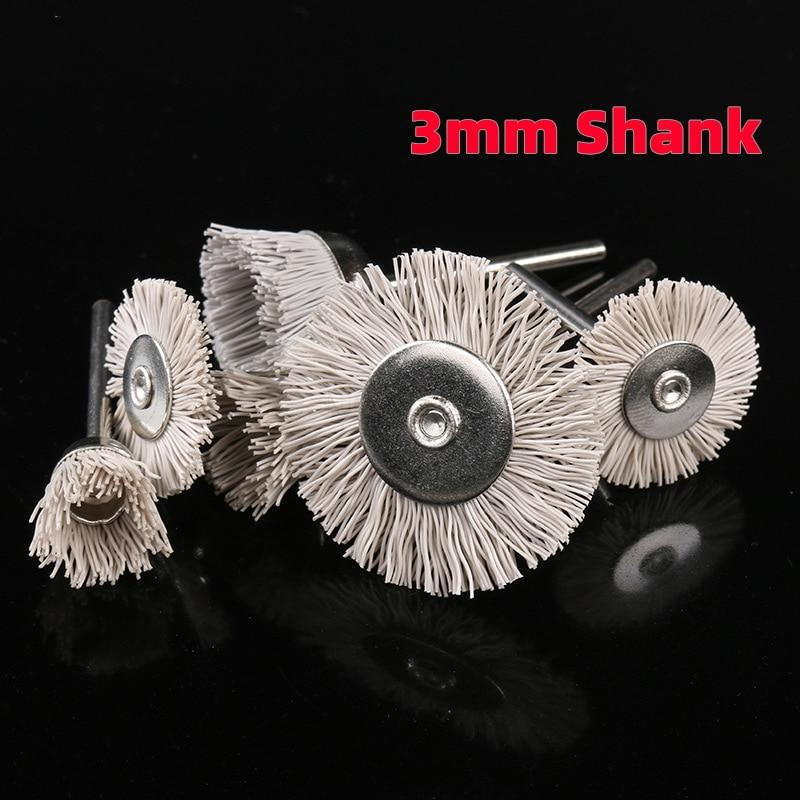 1Pcs 3mm Shank Nylon Abrasive Brushes Disc Accessories Dupont Polishing Wheel Carving Rotary Tools Suit Engraving Mini-polished