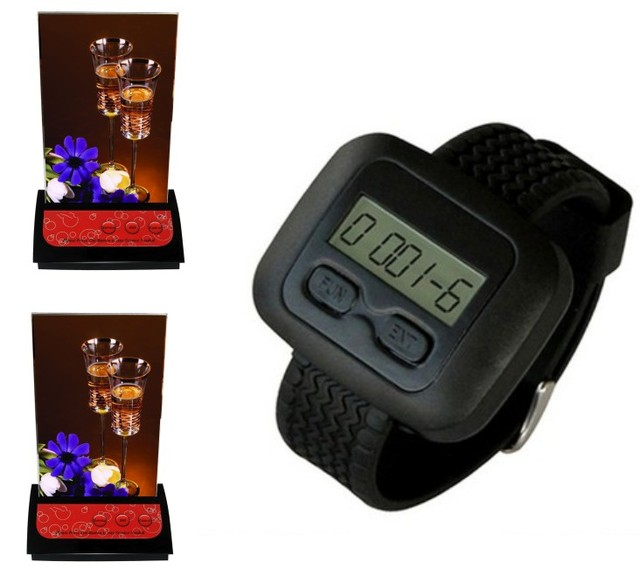 Waiter call system,waitress bell,1pc watch waiter pager, 2pc restaurant table-card three keys call button:service, check, cancel