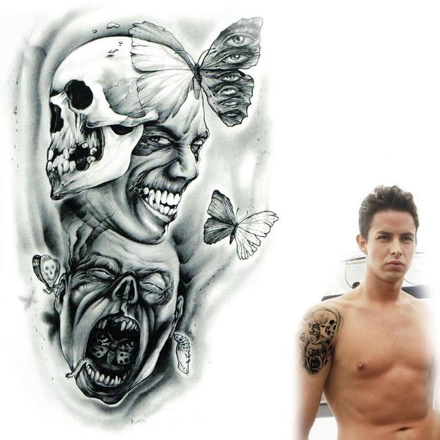 Czarno Biale Czaszki Totem Motyl I Oczu Falszywe Tatuaze Tymczasowe
