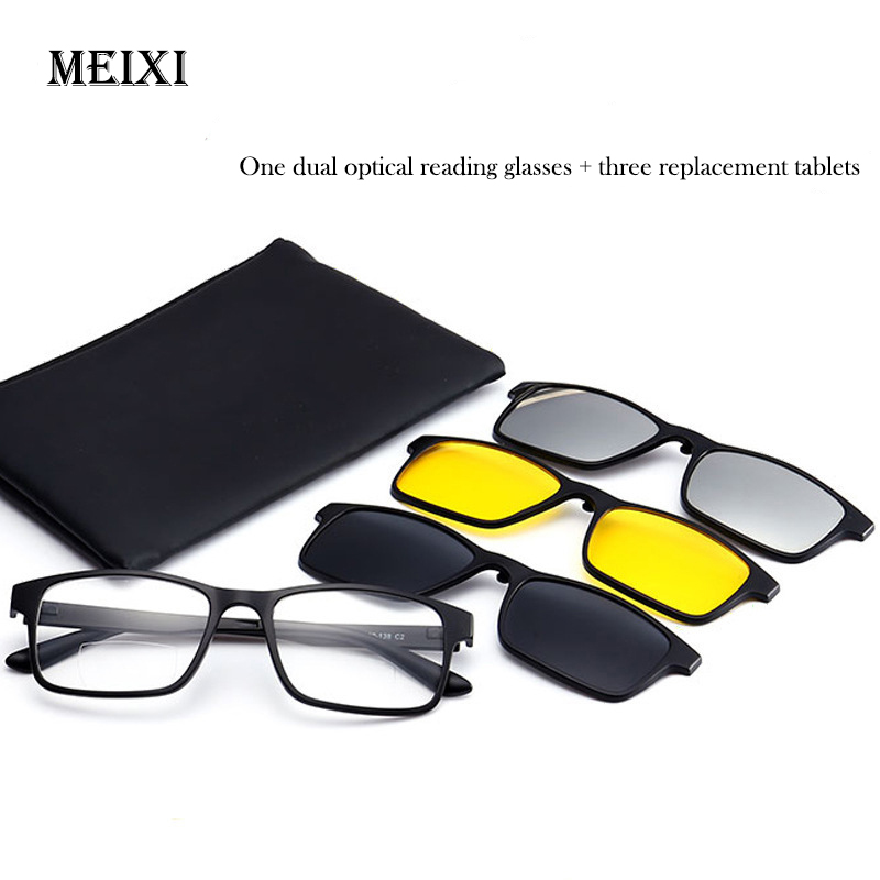 New Flat Lens Polarized Multifunctional Glasses Presbyopic Eyeglasses Magnetic Suit Three Pieces Reading Glasses +1 1.5 2 2.5 3