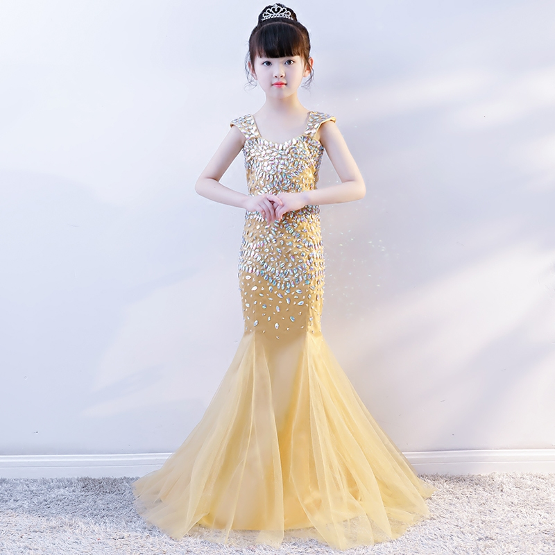 Luxury Gold Mermaid Princess Party Dress Crystal Beading Kids Pageant Dress Birthday Costume Tulle Fishtail Girls Formal Dress B mermaid fishtail gold metallic cap sleeve 2016 women new celebrity evning party floor length maxi rayon bandage dress sy 105