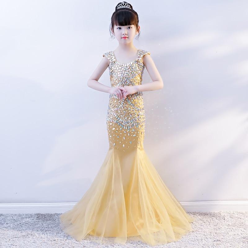 Luxury Gold Mermaid Princess Party Dress Crystal Beading Kids Pageant Dress Birthday Costume Tulle Fishtail Girls Formal Dress B half placket pearl beading tie cuff dress