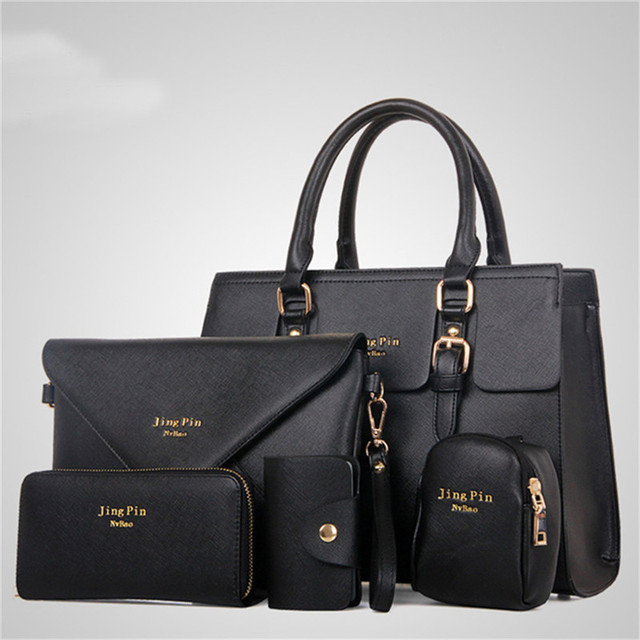 3771d6ad706f Fashion Women 5 Piece set Handbag Purse Set Classic Messenger Bag Imitation  Leather Shoulder Bag 6 Colors Ladies PU Bag TR966372