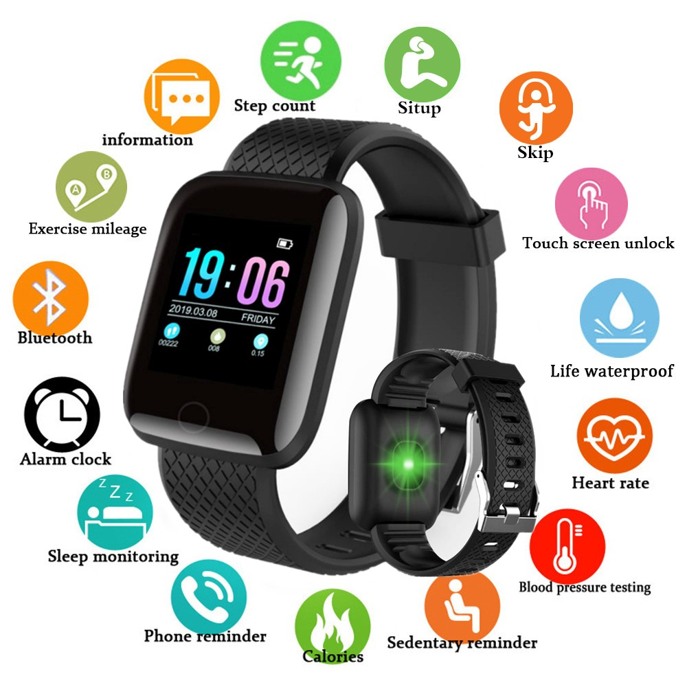 Men Women Waterproof Digital Smart Watch Blood Pressure Heart Rate Monitor Sport Fitness Watch Tracker Bluetooth Smartwatch(China)