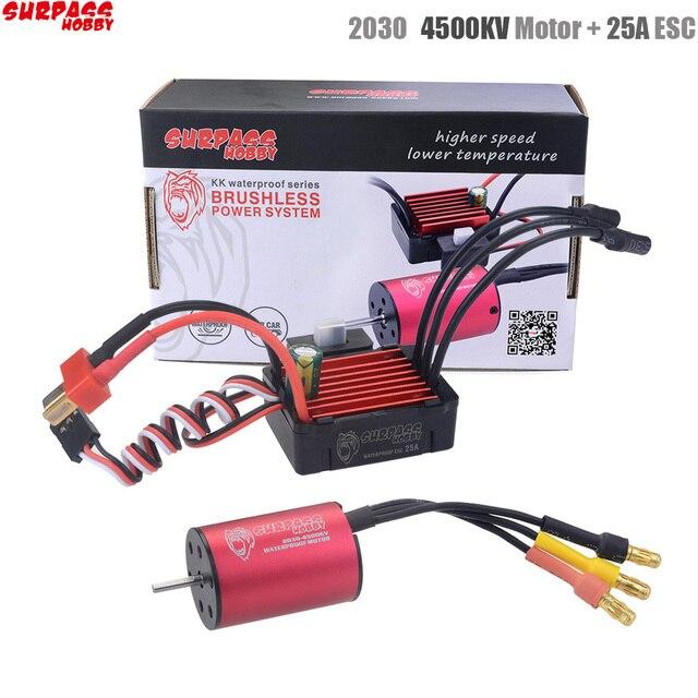Surpass Hobby bezszczotkowy regulator prędkości 25A ESC + 2030 4500kv silnik wodoodporny do samochodu 1/18 i 1/20 RC