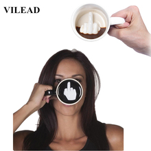 VILEAD Ceramic Coffee Mug Funny Middle Finger Creative Porcelain Milk Cup With Hangrip Anti-heat Water Novelty Gifts