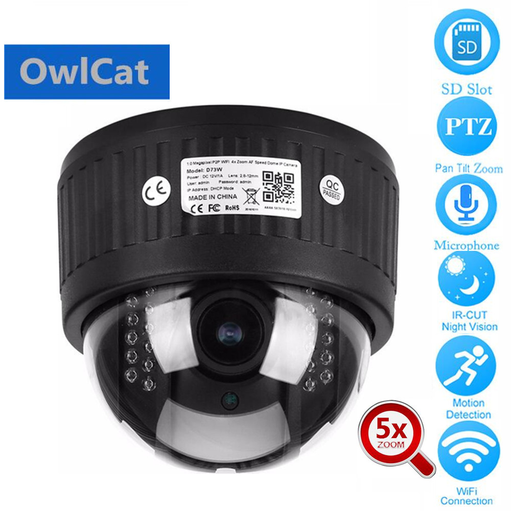 OwlCat HD 1080P Dome PTZ IP Camera Wireless Wifi 5x Zoom 2MP Two Way Audio Talk Microphone SD Slot Onvif P2P Network CCTV CameraOwlCat HD 1080P Dome PTZ IP Camera Wireless Wifi 5x Zoom 2MP Two Way Audio Talk Microphone SD Slot Onvif P2P Network CCTV Camera