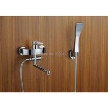 Новый дизайн, смеситель из твердой латуни, матового никеля или хром или золотого цвета для ванной комнаты, роскошный ручной душ из АБС и настенный наполнитель для ванны