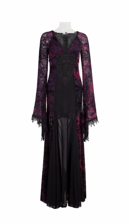 Punk gothique élégant noir & Violet cheville longueur robe Noble Flare robe col en v longue robe avec dentelle-in Robes from Mode Femme et Accessoires    2