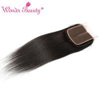 Wonder Beauty Remy Hair Peruvian Straight Lace Closure 4x4 Middle Part 100 Human Hair Medium Brown