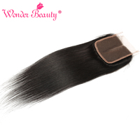 Wonder Beauty Remy Hair Peruvian Straight Lace Closure 4x4 Middle Part 100 Human Hair Medium Brown