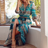 Women Bohemia V Neck Three Quarter Sleeve Floral Print Ethnic Summer Beach Boho Long Dress