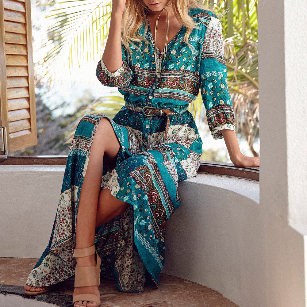 Women Bohemia V neck Three Quarter Sleeve Floral Print Ethnic Autumn Beach Boho Long Dress Retro