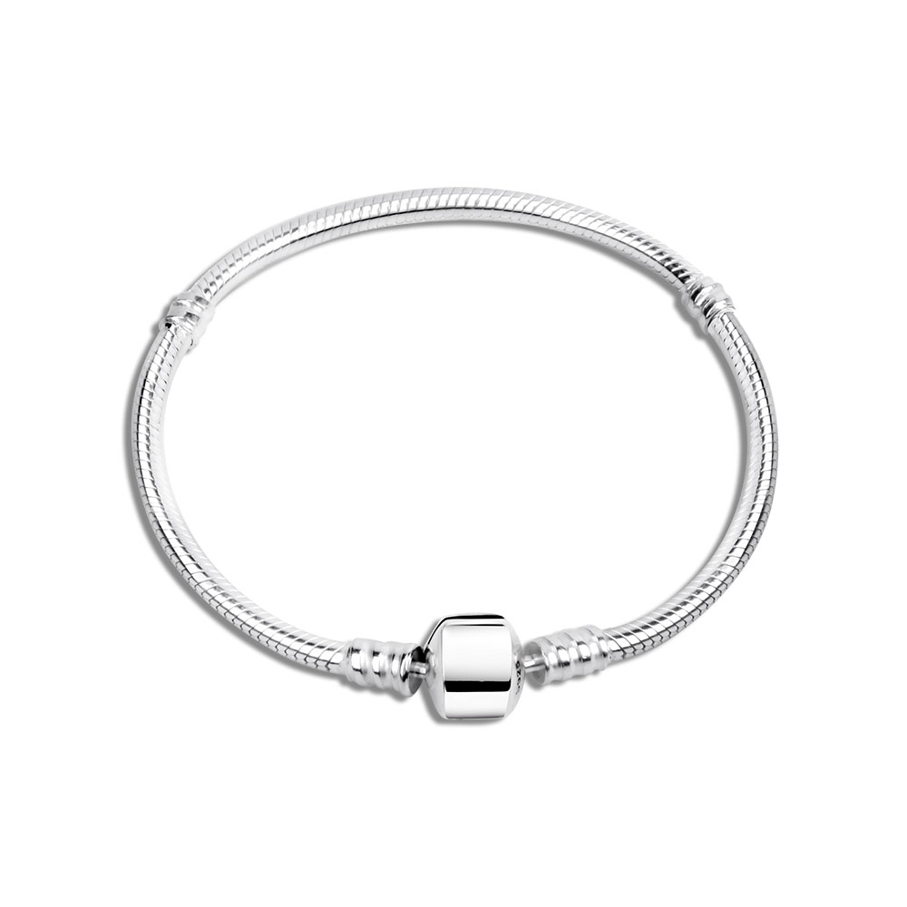 100% 925 Sterling Silver Bracelet Fit DIY Charm Bead Snake Chain For Women Pulsera Jewelry Gift Have S925 No Brand Logo Berloque