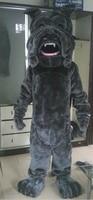 Smart Black Bulldog Dog Mascot Mascotte Puppy Cutu Doggie Chien Dawg Adult With Happy Face Big Mouth No.4569 Free Ship