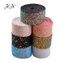 JOJO BOWS 50mm 1y Sparkly Chunky Glitter Ribbon Solid Tape For Needlework Shoe Apparel Sewing webbing DIY Hair Bows Materials