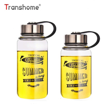 Transhome High Borosilicate Glass Water Bottle 1000ml Hot Outdoor For Lemon Fruit Juice Creative Portable Bottles For Water Tour