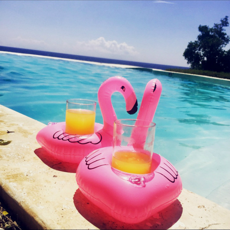 PVC Mobile Drink Cup Holder Mattresses for Cup Inflatable Flamingo Drinks Cup Holder Pool Bar Coasters Floatation Devices Pink