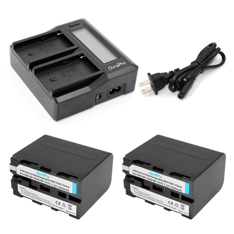 DuraPro 2Pcs NP-F960 NP-F970 Battery +LCD Dual Channel Fast Charger for Sony DCM-M1 MVC-CD1000 HDR-FX1 DCR-VX2100E DSR-PD190P sony hdr az1vr