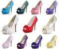 """Elegante Mulheres Evening Partido Bombas EP11091-IP Peep Toe Plataforma Arco 5 """"Stiletto Calcanhar De Cetim De Casamento Sapatos de Noiva"""