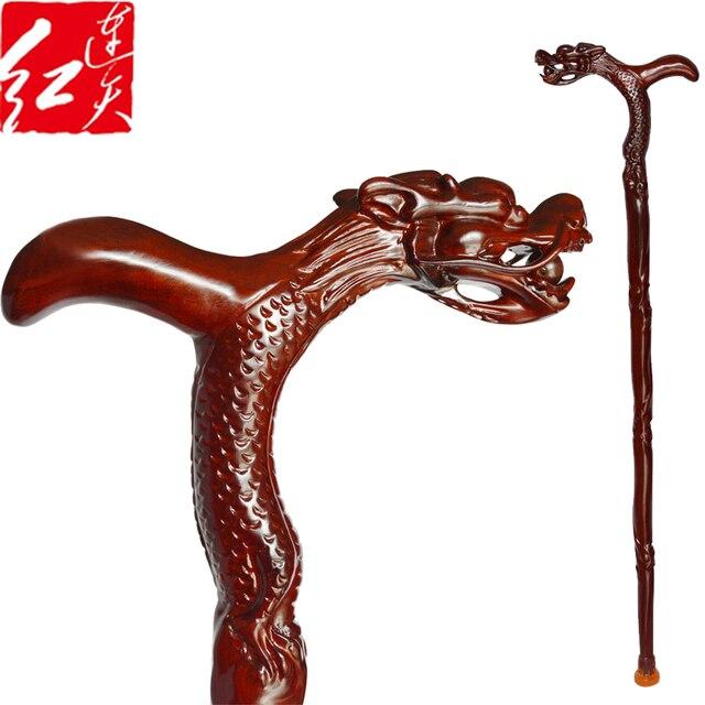 "Dragon Head Walking Stick Brazil Rosewood Staffs Red Sandalwood Carving Statue Folk Grandpa Lucky Crutch Mahogany Solid Wood 95"""
