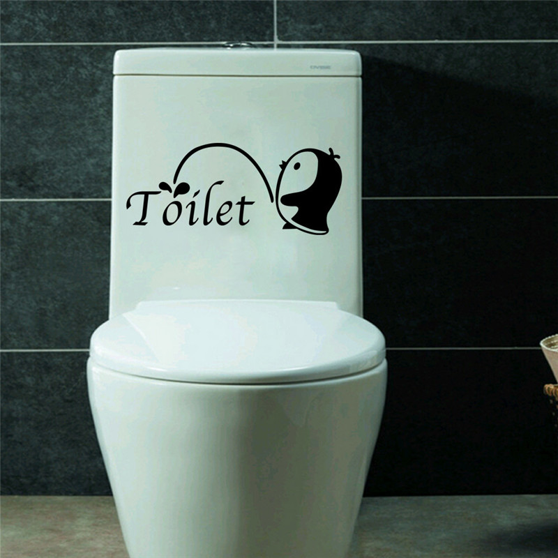 Cute Penguin Removable Stickers Self Adhesive Wall Decal Bathroom ...