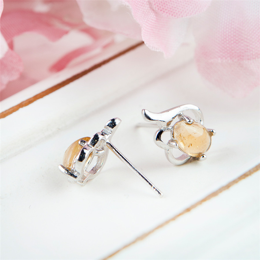 Véritable naturel YellowTourmaline gemmes pierre perle femmes charmes Sterling 925 argent Stud boucle d'oreille