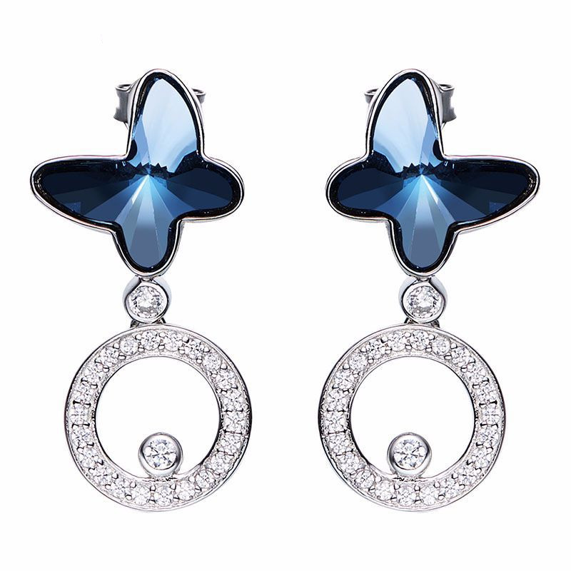 Heezen bleu papillons en forme de boucles d'oreilles femmes boucle d'oreille Bijoux autrichien strass Chic Bijoux cadeau boucles d'oreilles pour femmes nouveau