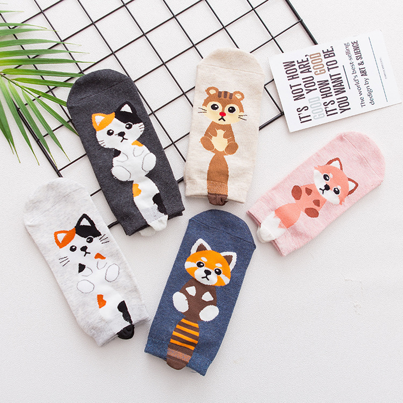 Harajuku Civet Cat Women Boat Socks 3D Printing Three-Dimensional Tail Cartoon Female Comfortable Happy Funny