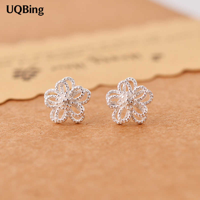 New Style Fashion 925 Sterling Silver Hollow Flower Stud Earrings For Women Jewelry Pendientes Brincos Fashion Jewelry