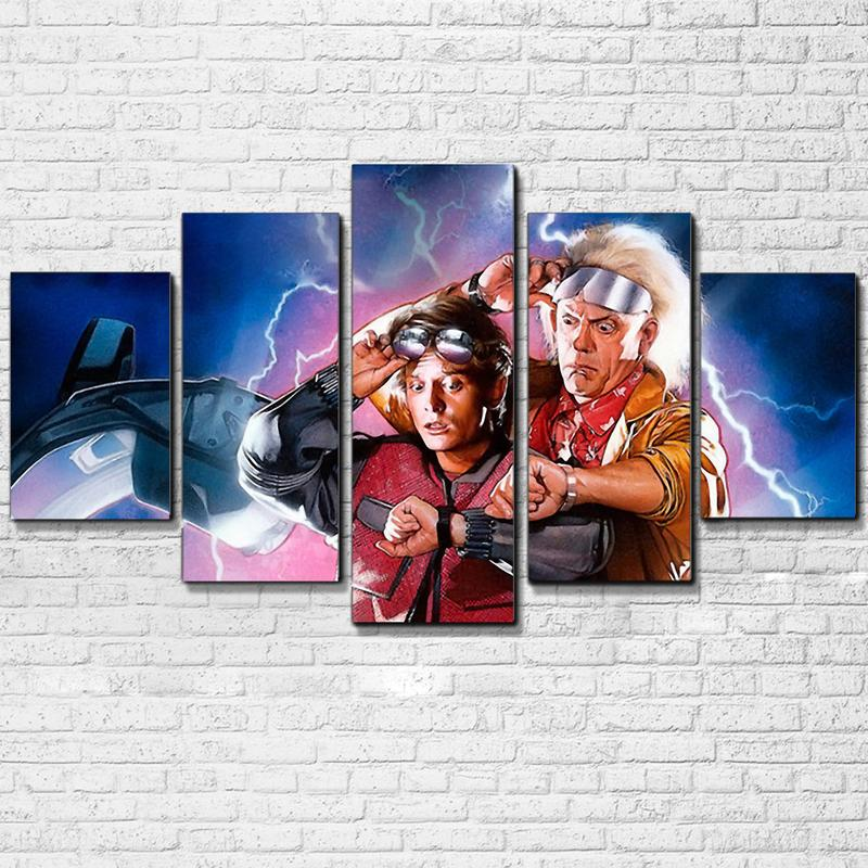 Canvas Modern Wall Art Home Decor Modular Pictures 5 Pieces Back To The Future Painting Living Room Frame Movie Poster PENGDA