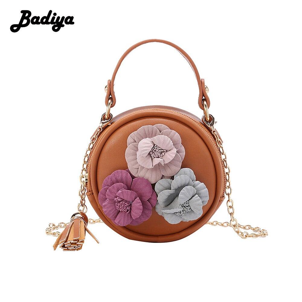 Badiya 3D Flowers Fashion Women Circular Bag Chains Strap Tassel Shoulder Bags For Women Elegant Ladies Round Handbags
