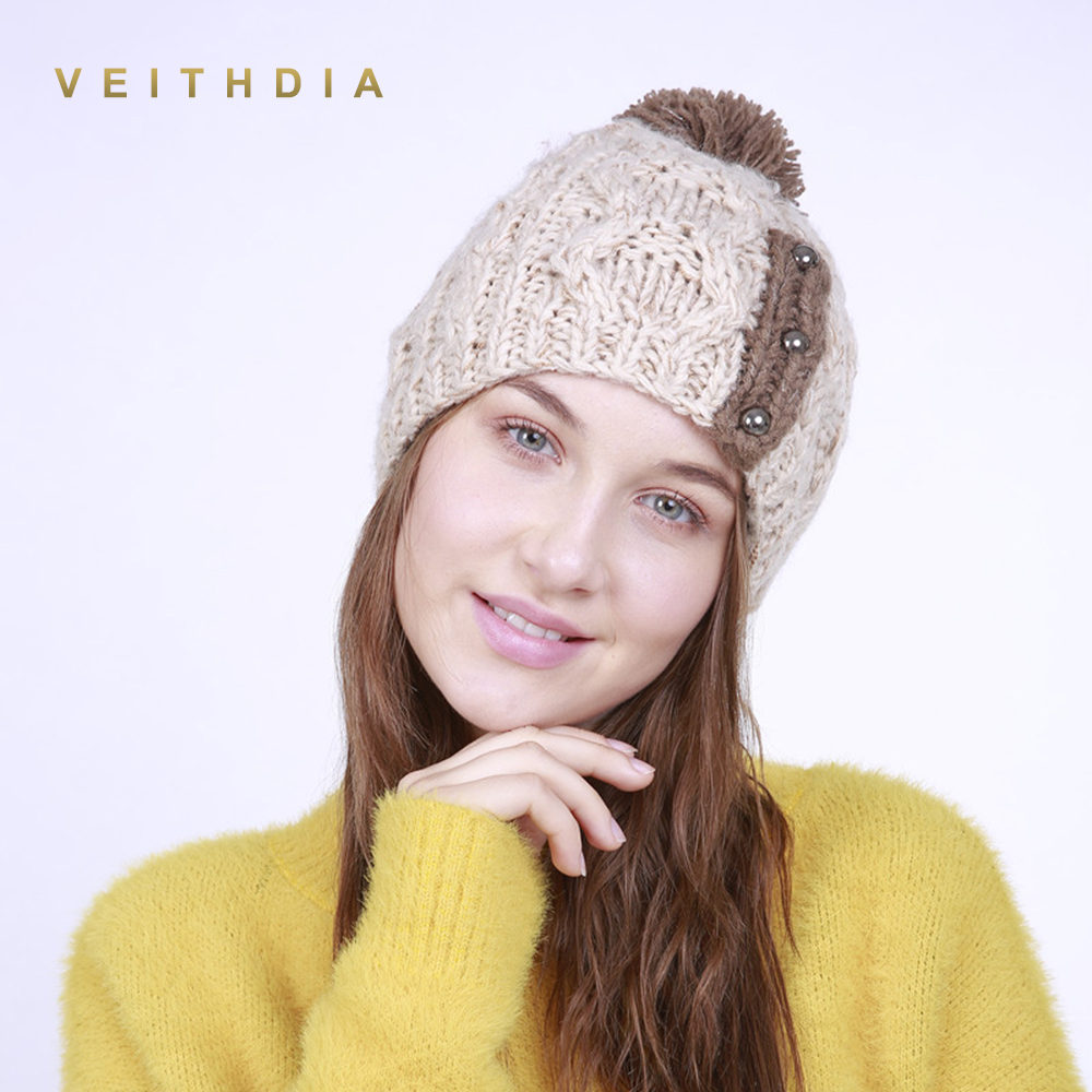 VEITHDIA 2019 Handmade Autumn Winter Knitted With buckle Hat Women Caps Bonnet Warm Baggy Winter Hats For Girls   Skullies     Beanies