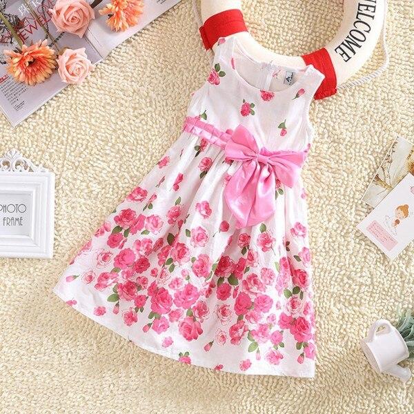 Niños Niñas Sin Mangas Vestidos de Princesa Floral Vestido de Partido del Bowkno