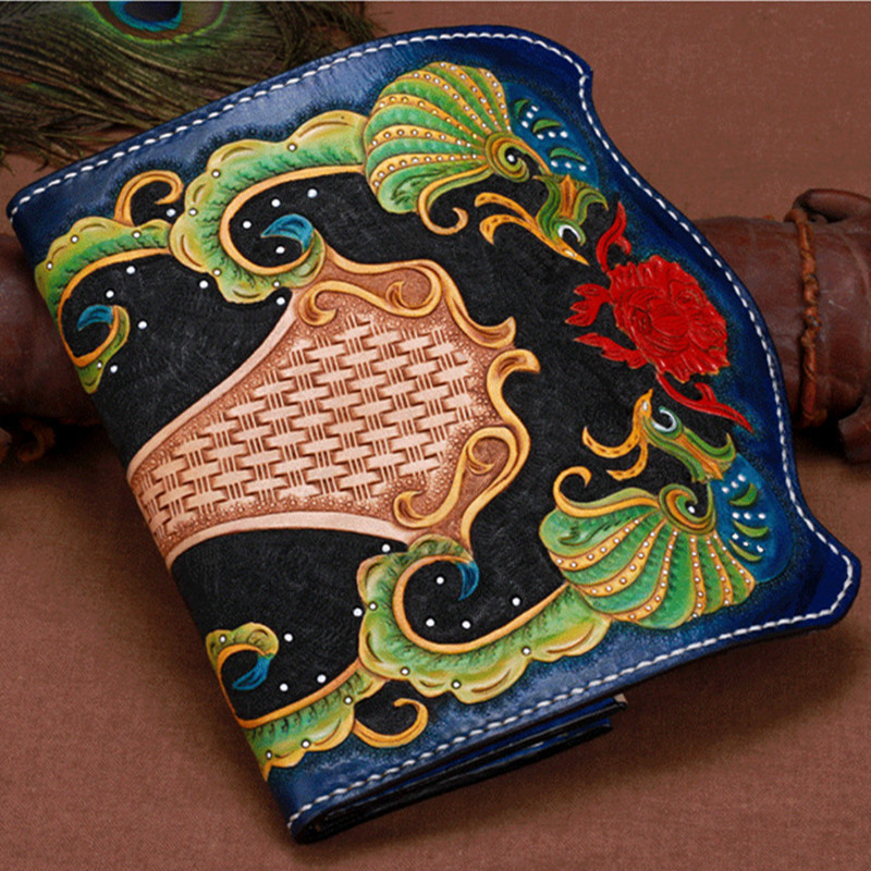 High-capacity Genuine Leather Wallets Carving Floral Bag Purses Women Clutch Vegetable Tanned Leather Flowers Wallet 2017 luxury brand men clutch cowhide wallet genuine leather hand bag classic multifunction mens high capacity clutch bags purses