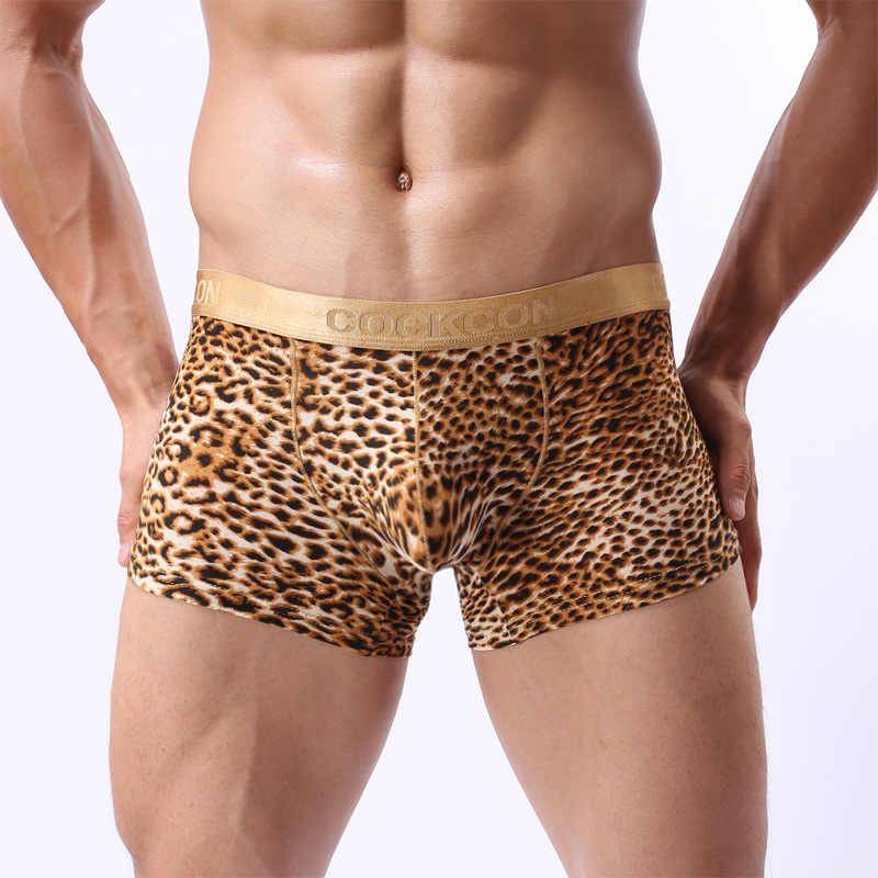 EXILIENS New Sexy Người Đàn Ông Đồ Lót Mens Ngắn Gọn Tóm Tắt Leopard Hombre Cuecas Masculina Quần Lót Người Đàn Ông Đồng Tính Trượt Homme Hot Kích Thước M-2XL 0313