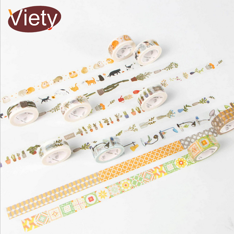1.5cm*7m Household Life Plant Washi Tape DIY Decoration Scrapbooking Planner Masking Tape Adhesive Label Sticker Stationery