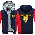 2016 Nova novidade Hoodies Kyrie Irving tio Drew jersey dos homens Engrossar Zipper da Longo-luva dos homens Tops Casual EUA tamanho Plus Size