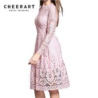 Cheerart באיכות גבוהה לנשים בוהמיים סתיו תחרה לבן סרוגה מקרית שרוול ארוך בתוספת גודל ורוד/לבן/שחור/בגדי שמלה אדומה